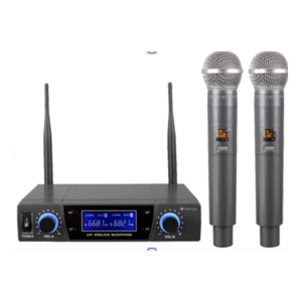 Draadloze 2 Kanaals Microfoonset UHF